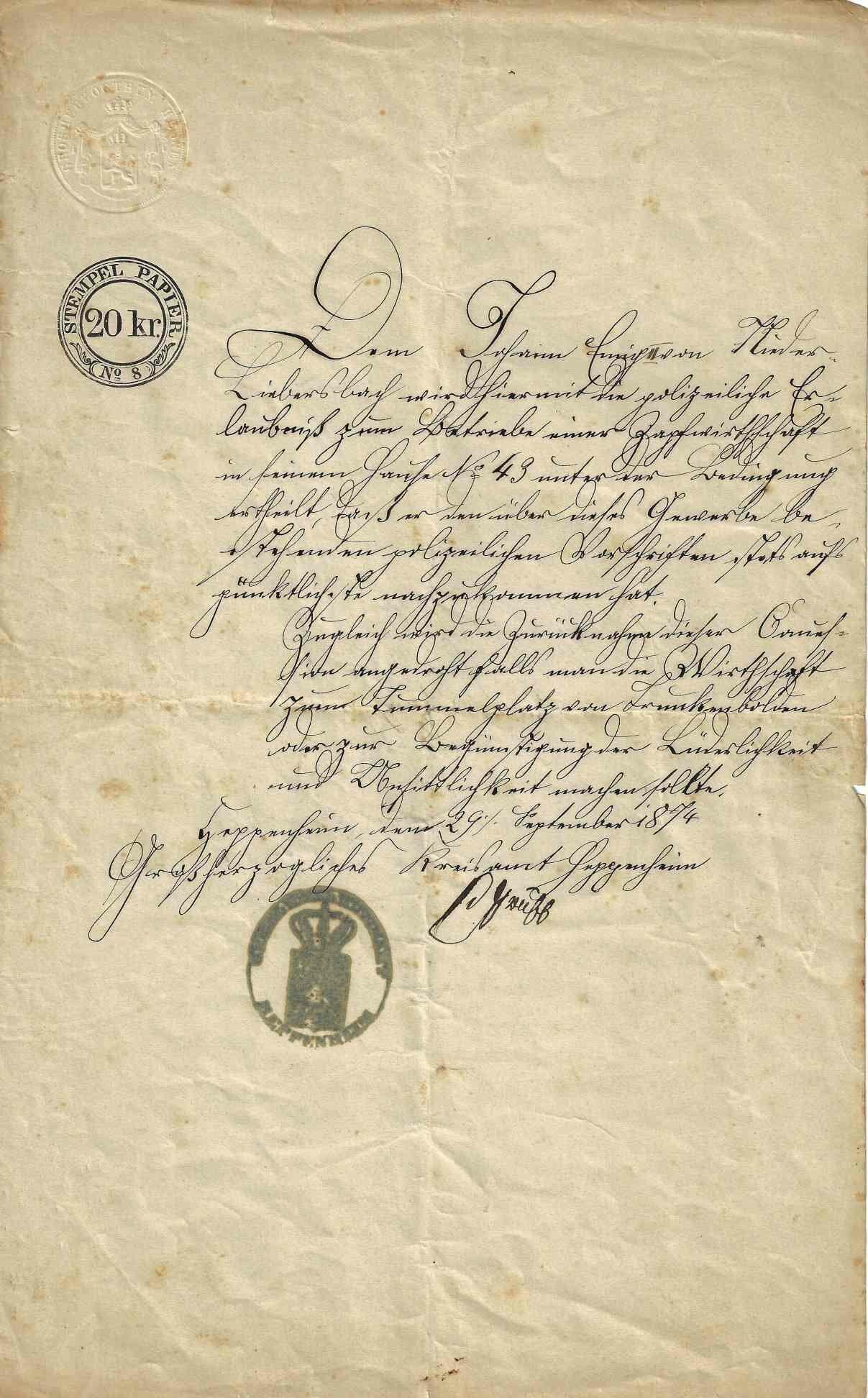 Urkunde Rose 1874