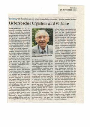 27 Nov 2010,  Willi Dietrich, Liebersbacher Urgestein wird 90 Jahre /WN/OZ