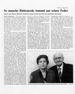 Goldene Hochzeit 2000, Jakob und Maria Theresia Dietrich