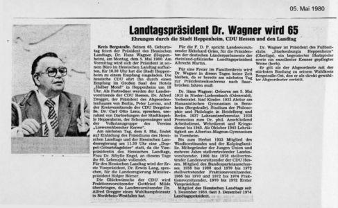 Landtagspräsident Dr. Wagner wird 65