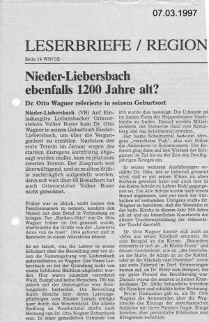 Dr. Otto Wagner referierte in seinem Geburtsort / 7. März 1997