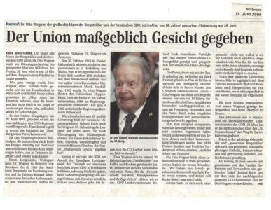 Nachruf: Dr. Otto Wagner im Alter von 96 Jahren gestorben / 17. Juni 2009