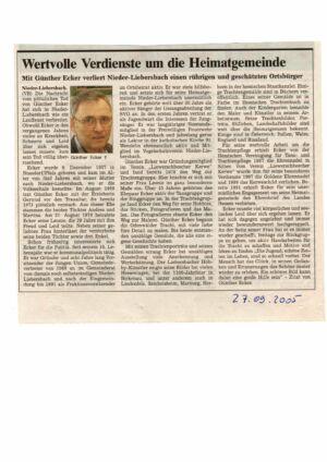 Günther Ecker: Wertvolle Verdienste um die Heimatgemeinde / WN/OZ 27.09.2005