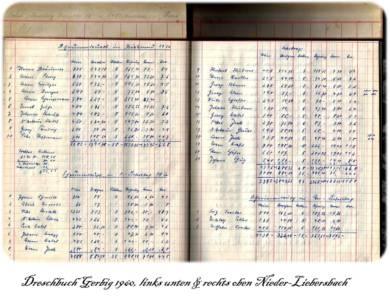 Dreschbuch Gerbig von 1958 - 1966 Nieder-Liebersbach