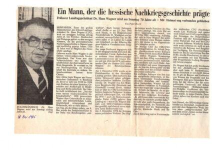 Hans Wagner, zum 75. Geburtstag