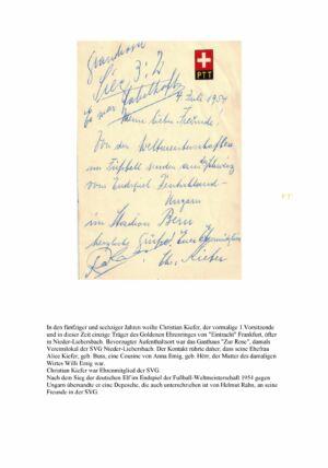 Gratulation von Christian Kiefer zum deutschen Sieg bei der Fußball-WM 1954