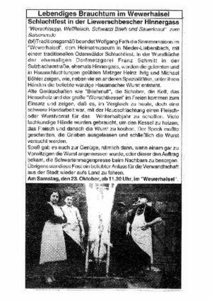 """Sulzbacher Straße / Schlachtfest in der """"Hinegass"""""""